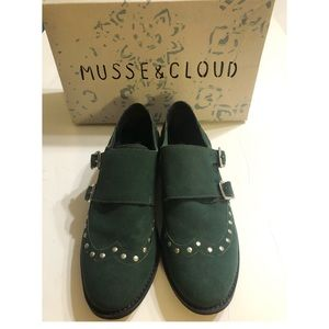 Musse & Cloud Suede Leather Oxfords Buckle Studs 7